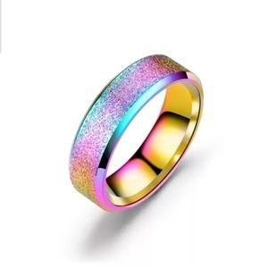 NEW PISA Trendy 316L Stainless Steel Rainbow Ring